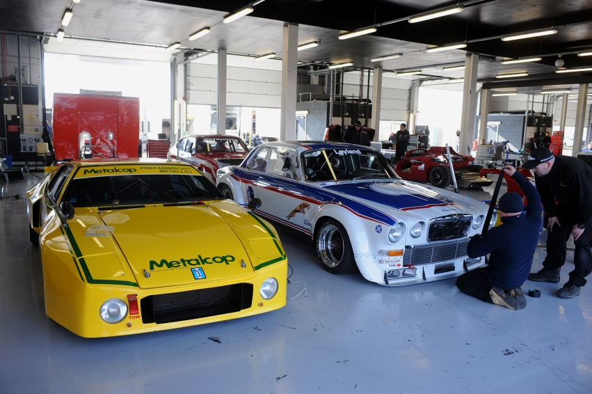 Silverstone Classic Media Day 2016, Silverstone Circuit, Northants, England. 27th April, 2016 Garages Copyright Free for editorial use