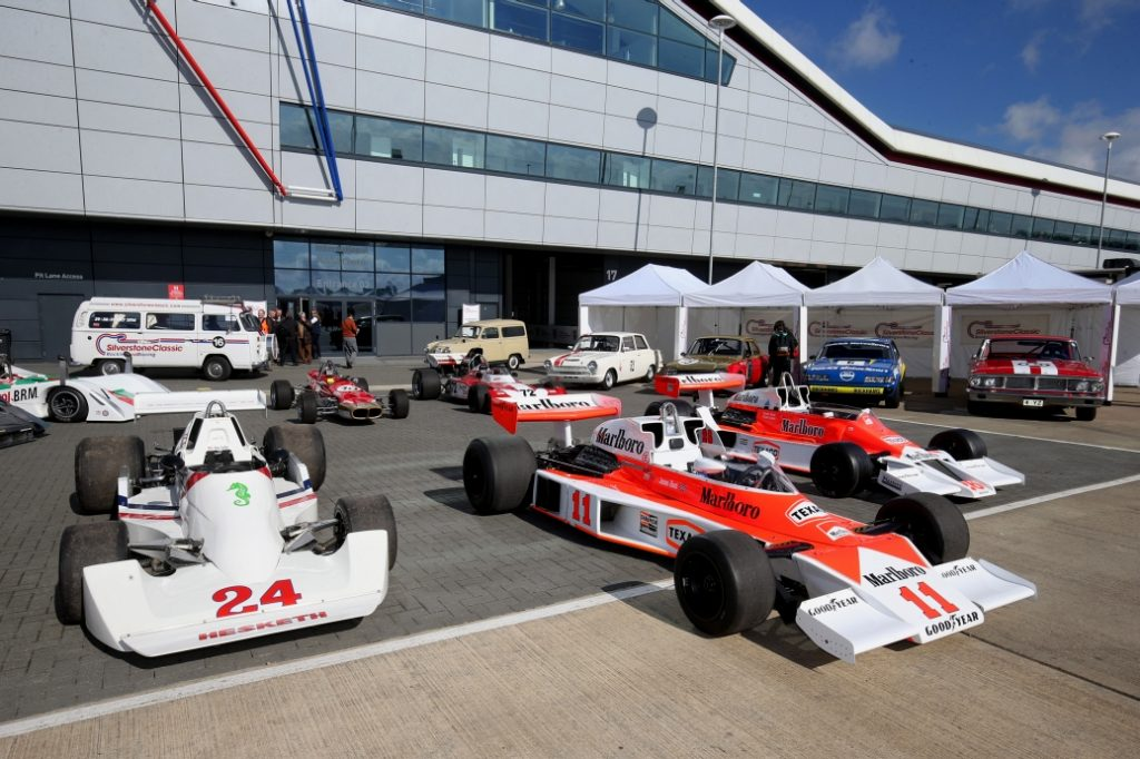 Silverstone Classic Media Day 2016, Silverstone Circuit, Northants, England. 27th April, 2016 James Hunt Display Cars Copyright Free for editorial use