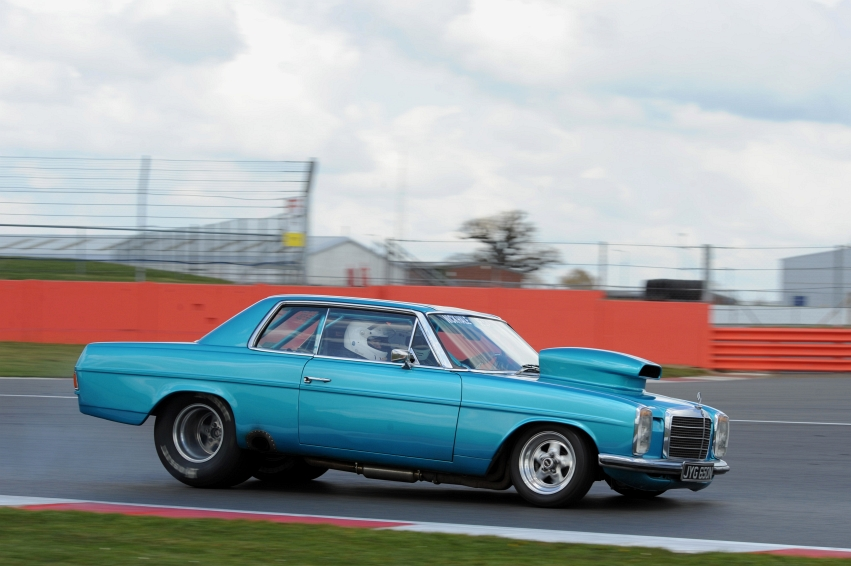 Silverstone Classic Media Day 2016, Silverstone Circuit, Northants, England. 27th April, 2016 Mercedes Funny Car Copyright Free for editorial use